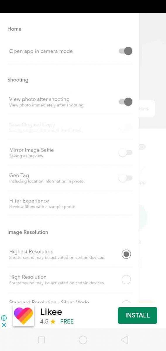 القائمة الرئيسية لبرنامج كاندي كاميرا