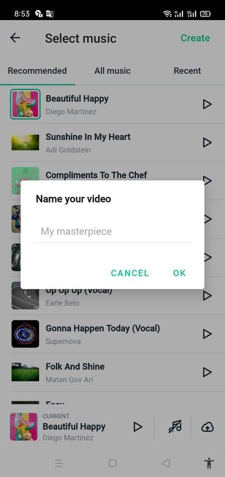 اختيار الموسيقى وتسمية الفيديو