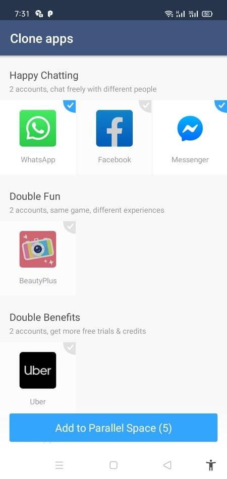 اختيار التطبيقات والالعاب لانشاء حساب ثاني عليها